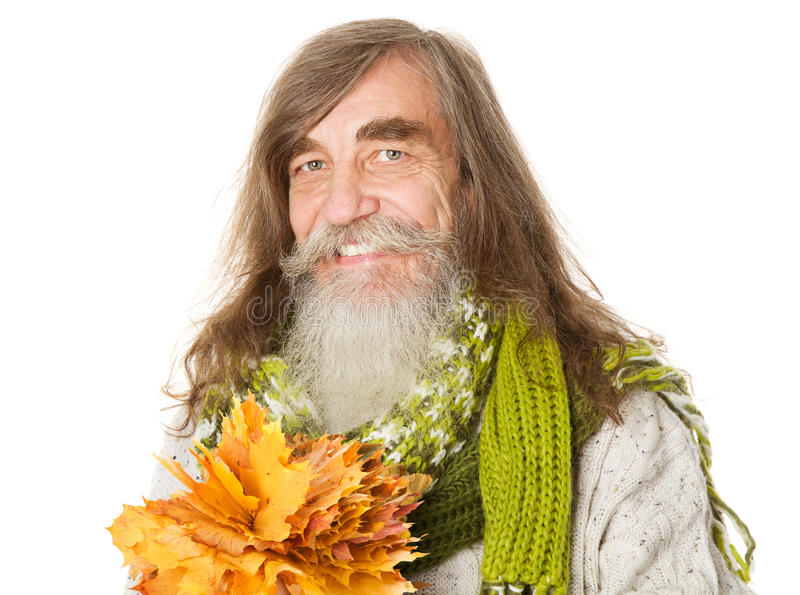 Download Happy Senior Old Man Holding Autumn Yellow Maple Leaves Royalty Free Stock Photos - Image: 34035148