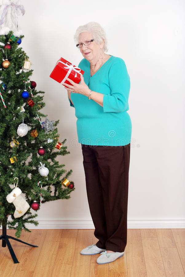 Happy senior woman with christmas gift. Portrait of a Happy senior woman with christmas gift royalty free stock images