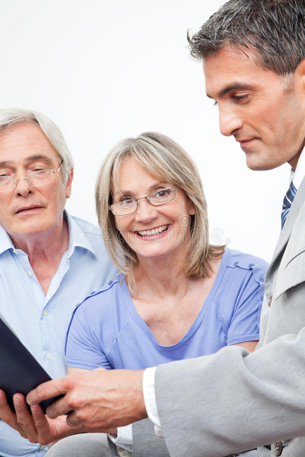 Download Happy Senior Woman With Financial Stock Image - Image of insurance, advice: 23362695