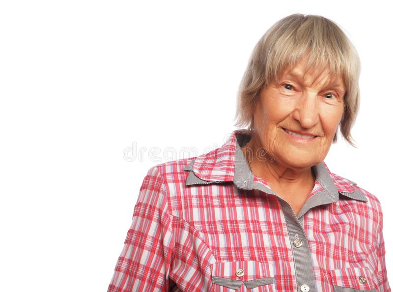 Happy senior woman. Isolated on white royalty free stock images