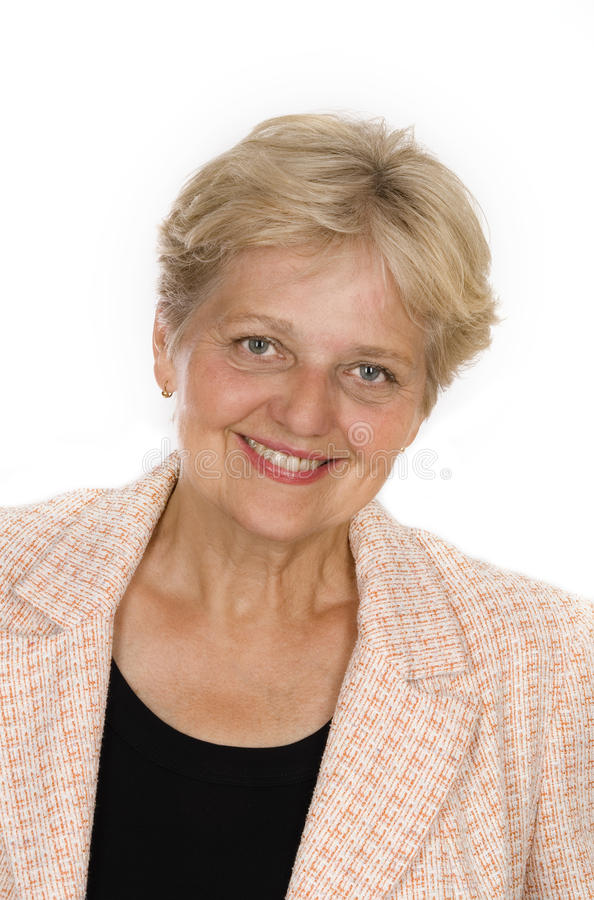 Happy senior woman smiling stock photo