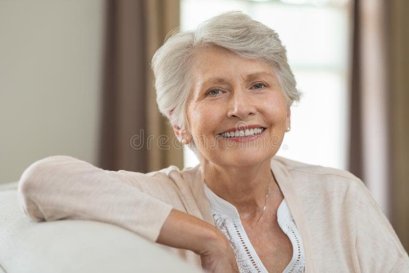 Happy senior woman stock image