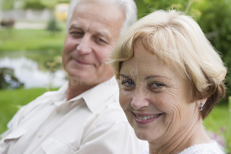 Happy seniors – 42 years in love stock photography