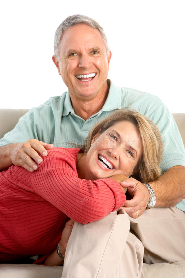 Happy seniors. Couple in love. Isolated over white background stock photo
