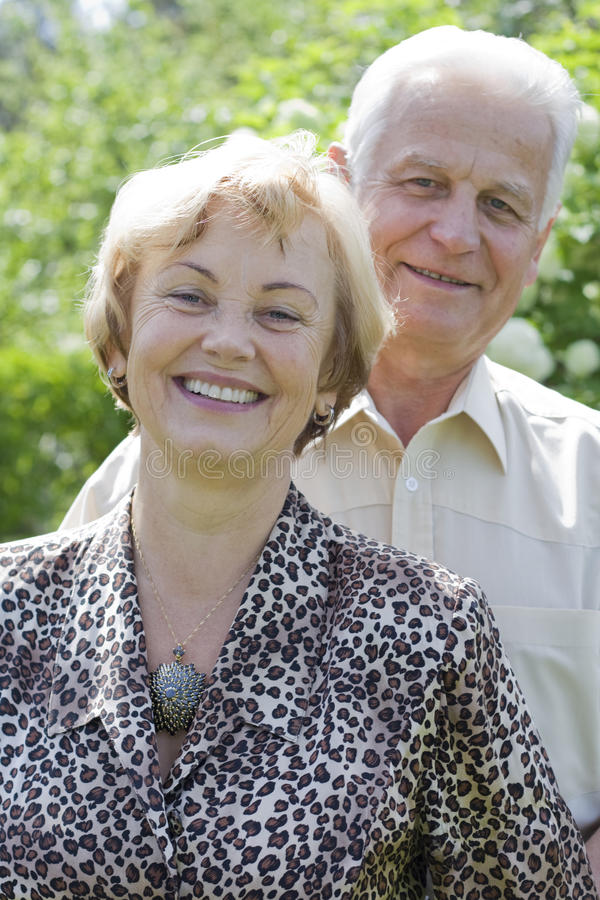 Happy seniors - 42 years in love royalty free stock photography