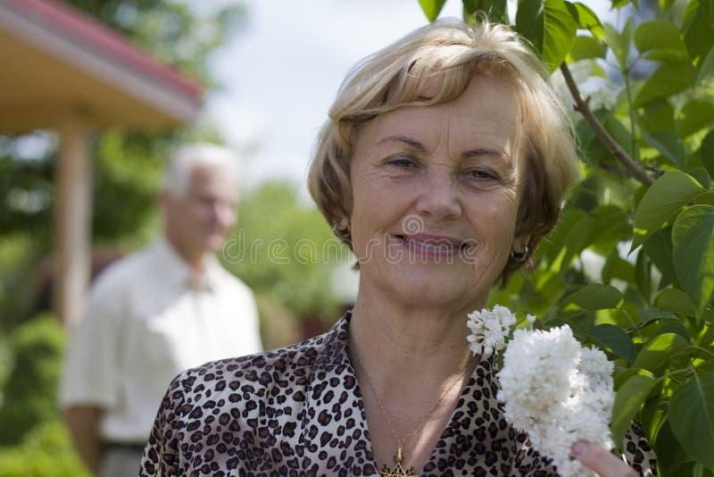 Happy seniors - 42 years in love stock photo