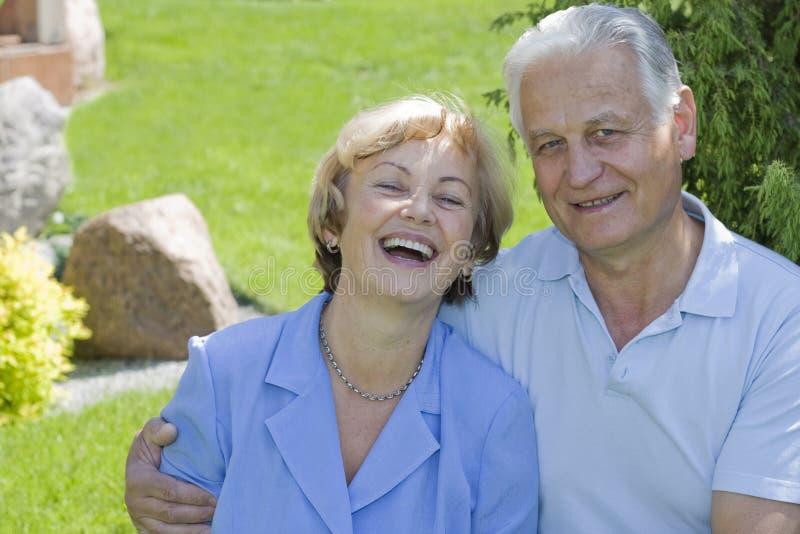 Happy seniors - 42 years in love royalty free stock image