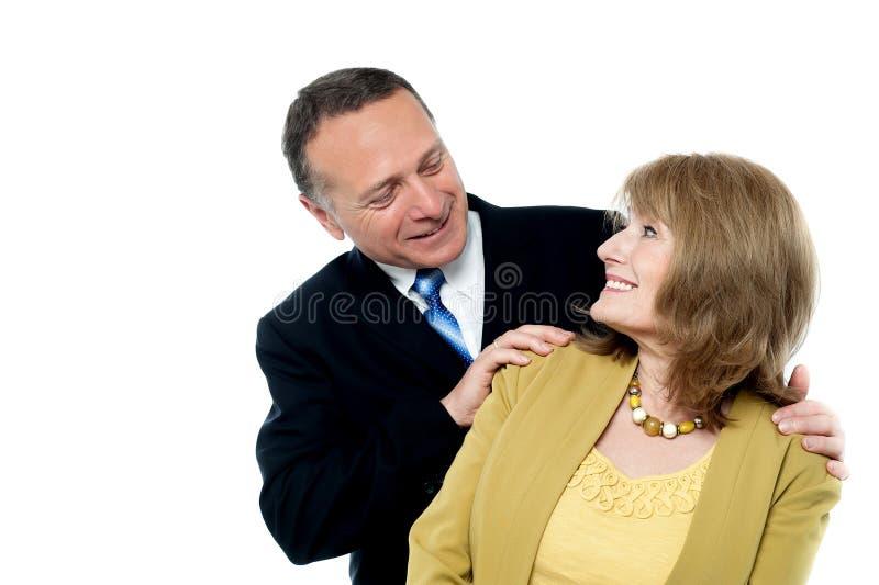 Happy seniors couple in love. Portrait of senior smiling love couple royalty free stock photos