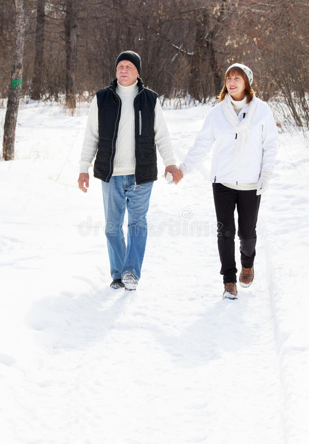 Happy seniors couple walking in winter park stock images