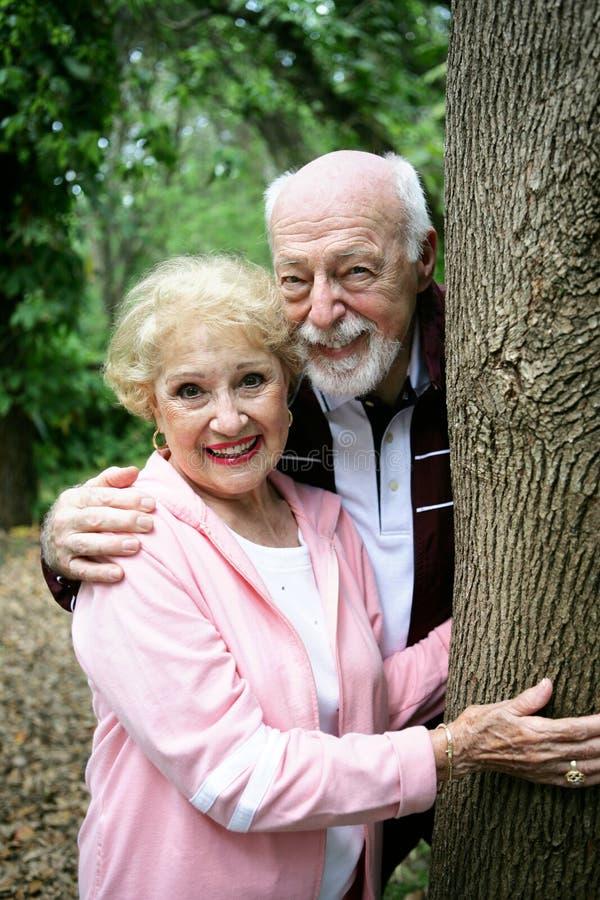 Happy Seniors in Park stock photos