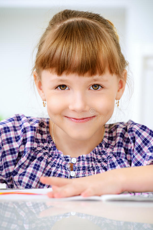 Smiling eight year old girl stock images
