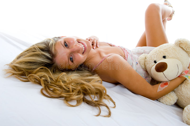 Happy Girl With Teddy Bear Royalty Free Stock Image