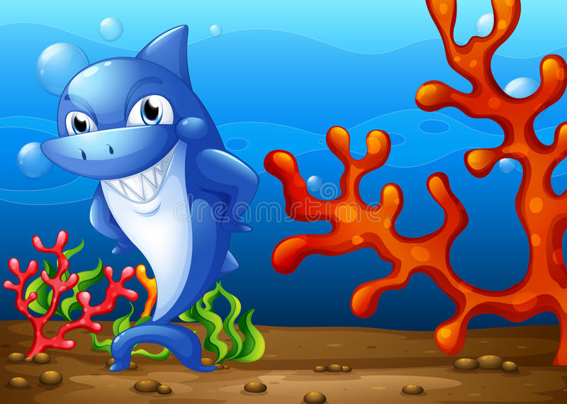 A happy shark underwater. Illustration of a happy shark underwater royalty free illustration