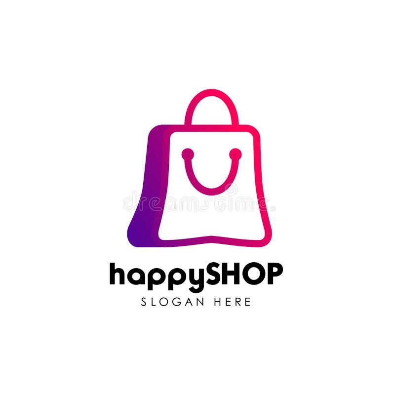happy shop logo design template. shopping logo design stock vector illustration