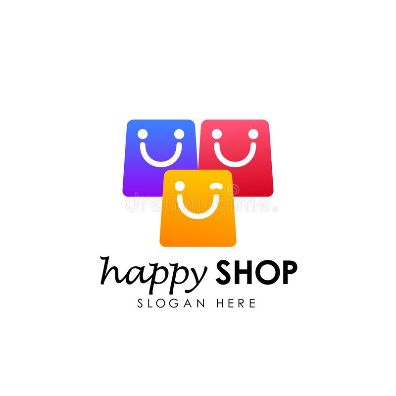 happy shop logo design template. shopping logo design stock royalty free illustration