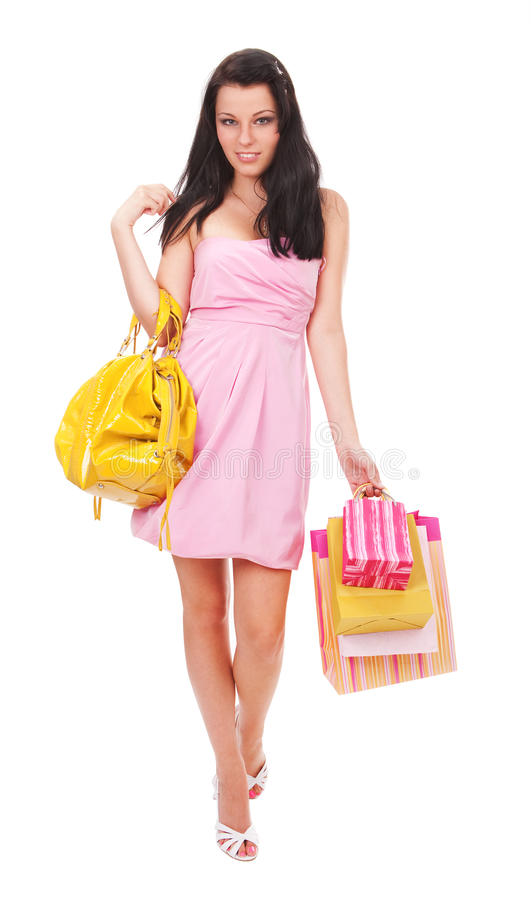 Download Happy shopaholic stock photo. Image of brunette, pink - 10908806