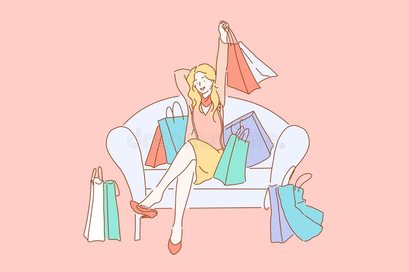 Happy shopaholic with purchases, consumerism concept vector illustration