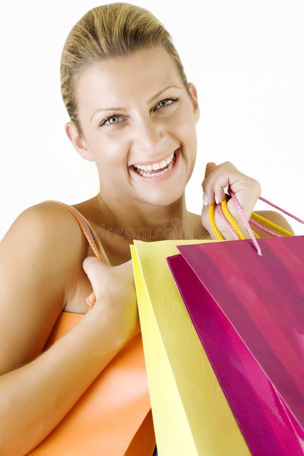 Happy shopper royalty free stock photos