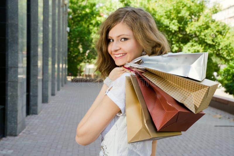 Happy shopper stock image