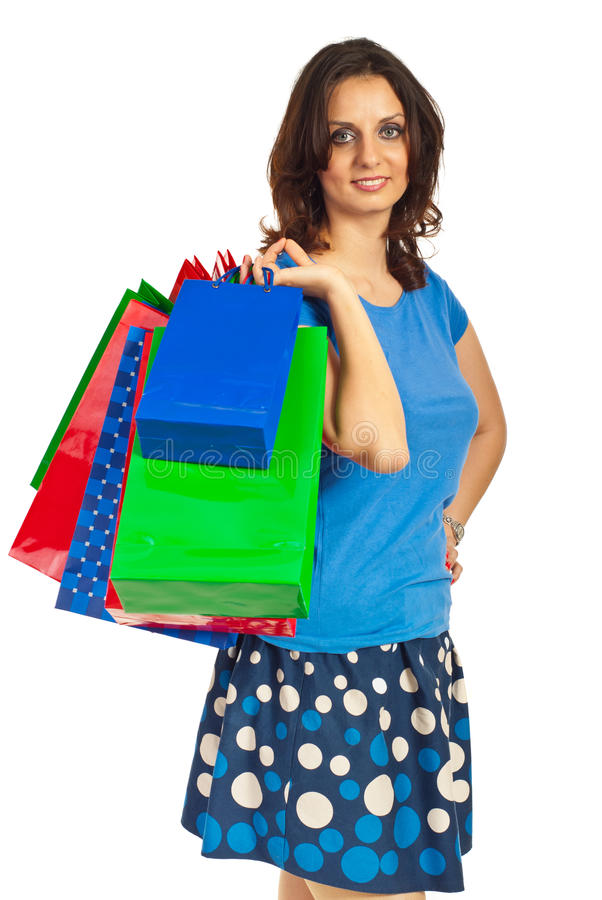 Happy shopper woman with bags royalty free stock photo