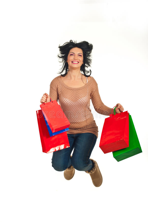 Download Happy Shopper Woman Jumping Stock Photo - Image: 22540900