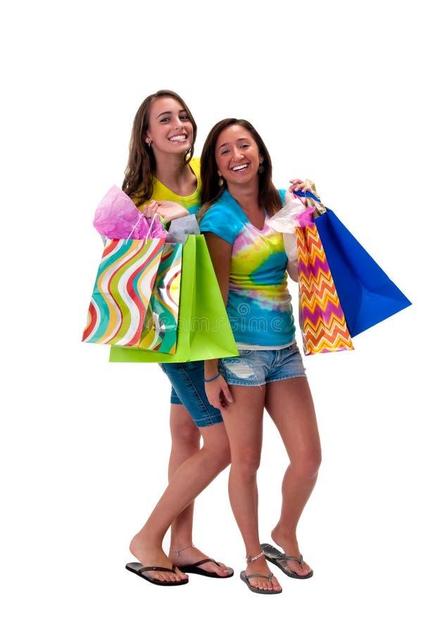 Happy shoppers royalty free stock photo