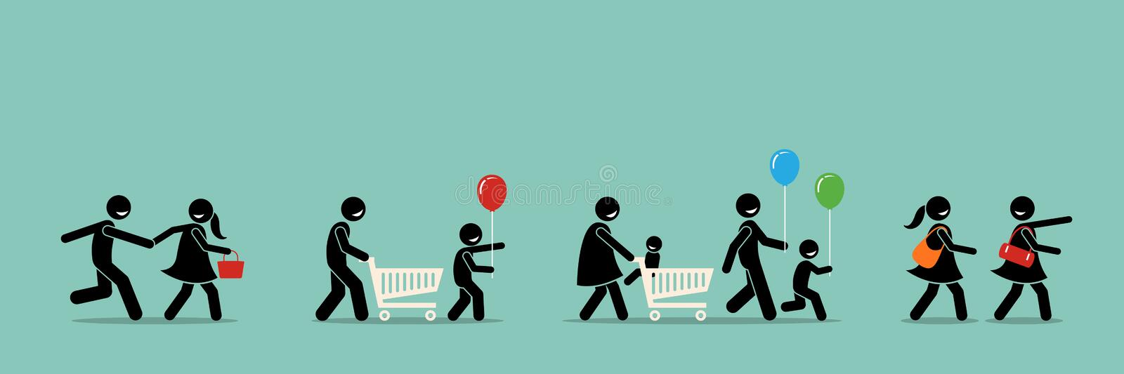 Happy shoppers shopping royalty free illustration