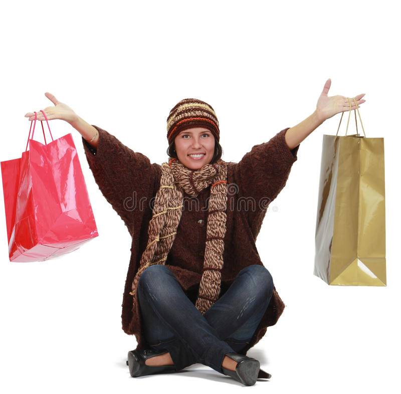 Download Happy shopping stock photo. Image of consumer, knit, bags - 12207550