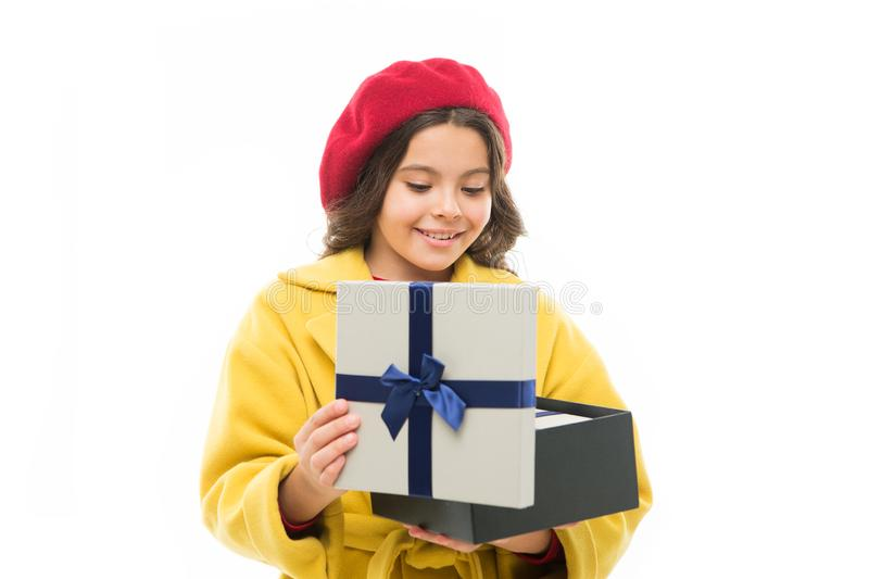 Happy shopping. childrens day. France style. beauty and spring fashion. child with present box. small parisian girl with. Happy face. little girl child in royalty free stock image