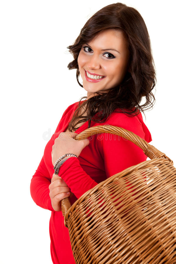 Download Happy Shopping Girl With Wicker Basket Stock Image - Image of consumer, wicker: 24452409
