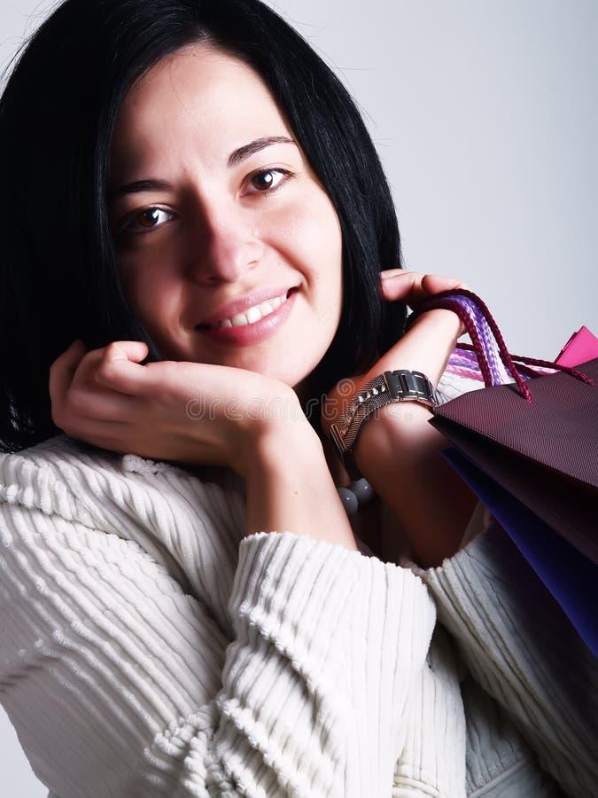 Happy shopping lady royalty free stock image