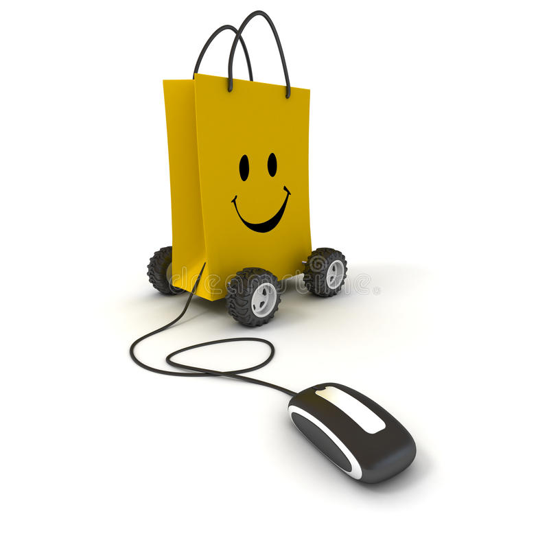 Happy shopping online. Smiling yellow shopping bag on wheels connected to a computer mouse vector illustration