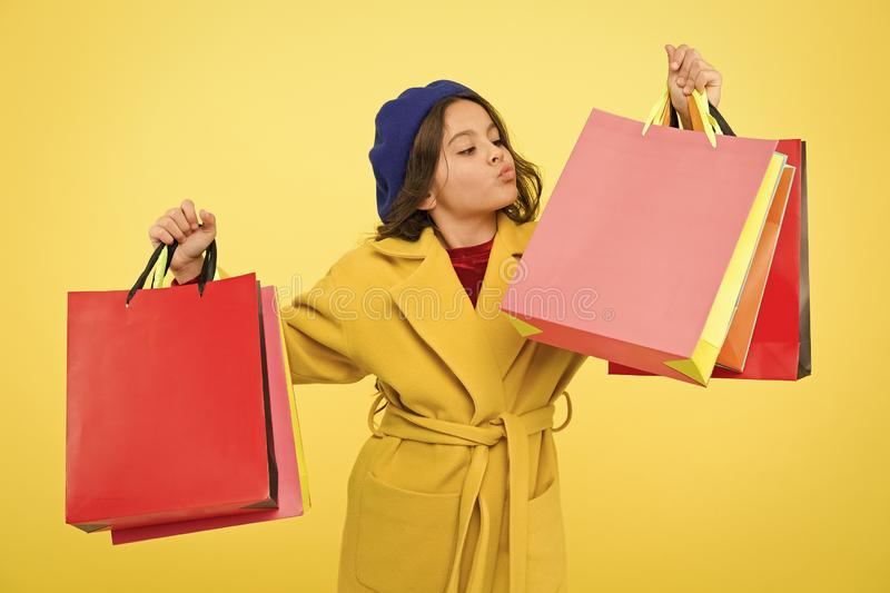Happy shopping online. Birthday and christmas presents. International childrens day. big sale in shopping mall. small. Girl child with shopping bags. Own stock photos