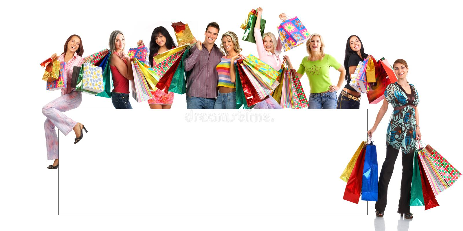Happy shopping people royalty free stock photos