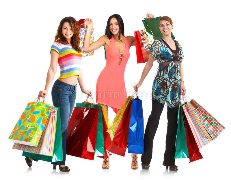 Happy shopping people. stock images