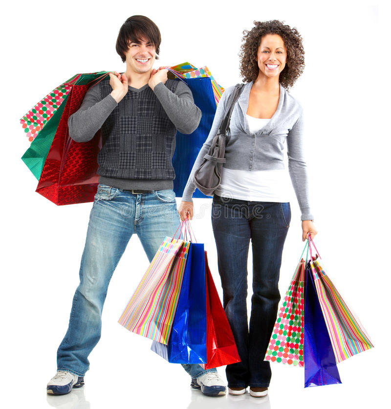 Happy shopping people stock photo