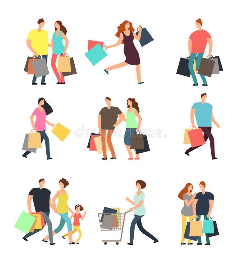 Happy shopping people. Man, woman and shoppers with gift boxes and shopping bags. Vector cartoon characters set. Woman and man cartoon shopper, buyer with bag royalty free illustration