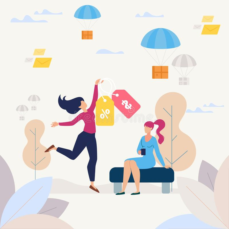 Happy Shopping on Shop Sale Flat Vector Concept. Buying Goods on Shop Sale, Purchasing with Discount Flat Vector Concept. Happy Woman Dancing with Price Tags stock illustration