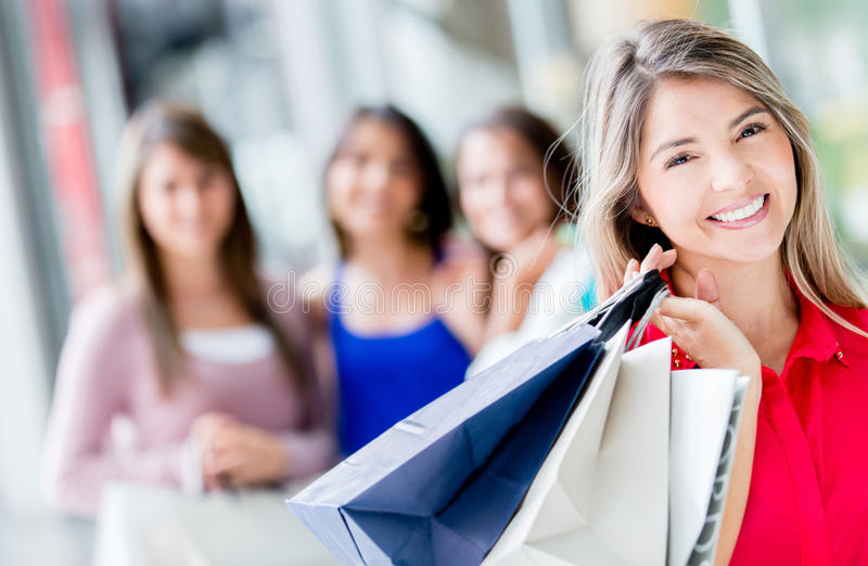 Download Happy shopping woman stock image. Image of purchases - 28080375