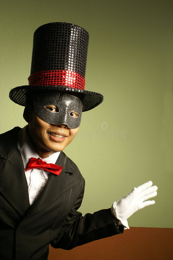 Happy showman in tophat royalty free stock photography