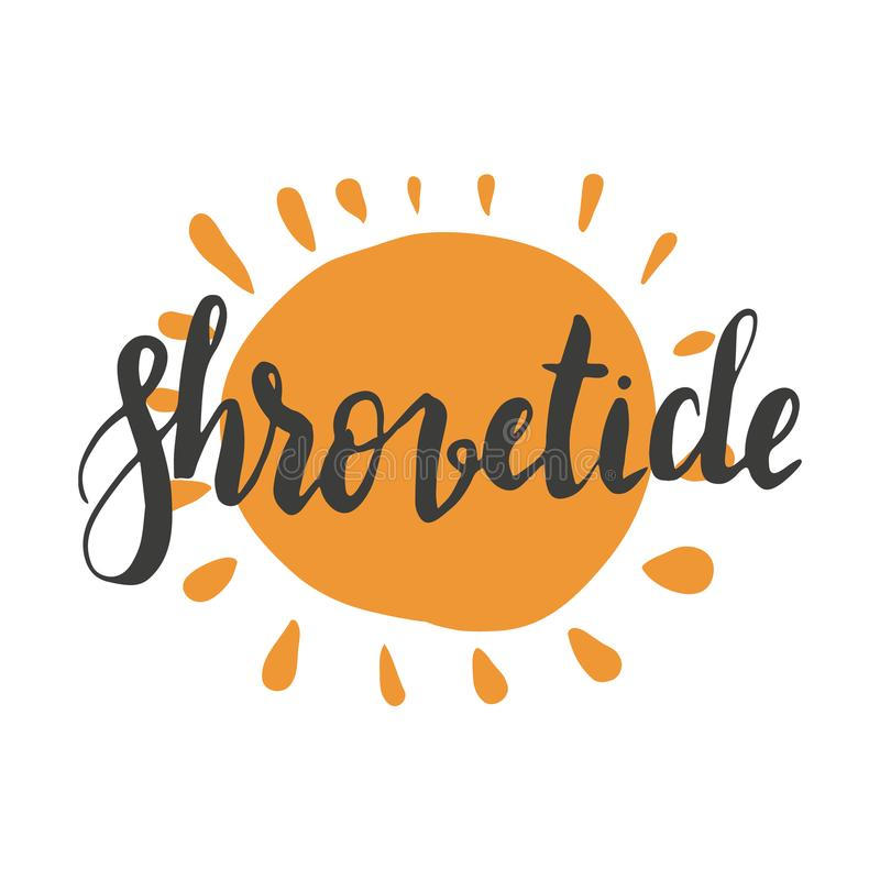 Happy shrovetide hand lettering stock illustration
