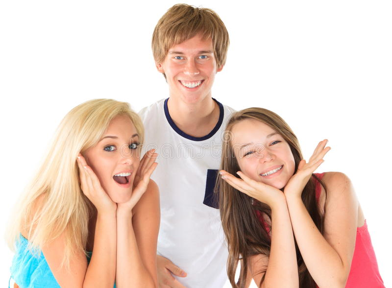 Happy siblings. Boy and two girls together royalty free stock photos
