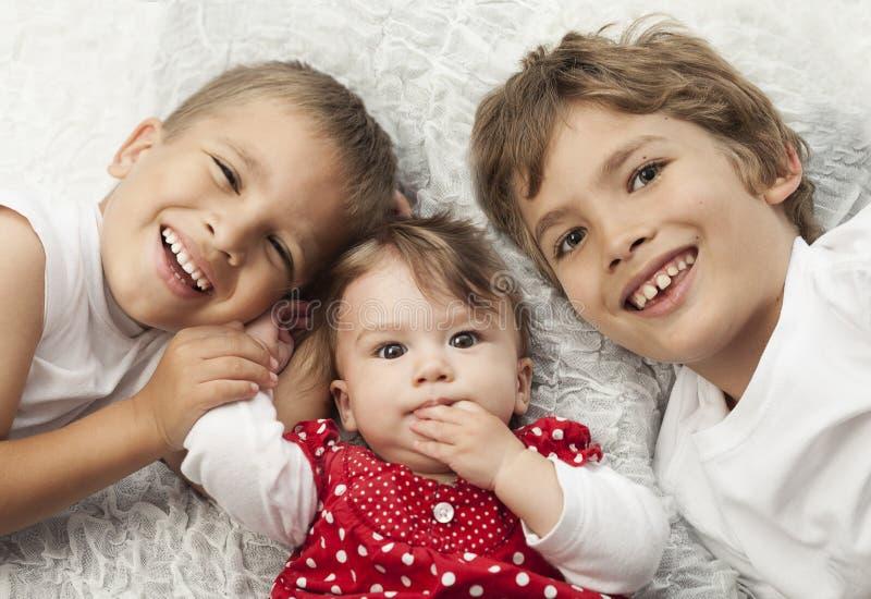 Happy siblings royalty free stock photos