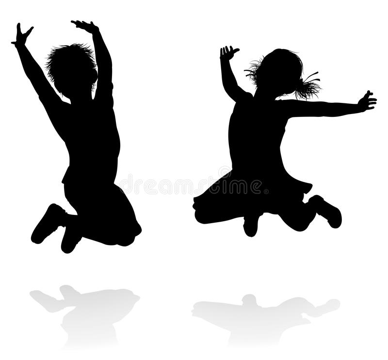 Happy Silhouette Kids Jumping Stock Vector Illustration