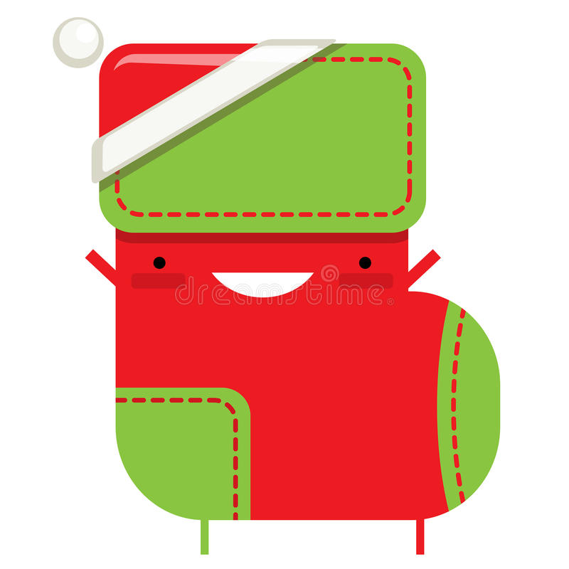 Happy simple cartoon smiling Christmas sock Santa Claus character. With hat royalty free illustration