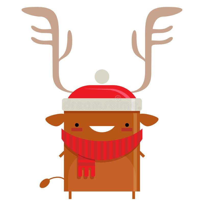Happy simple smiling Santa Claus reindeer cartoon character