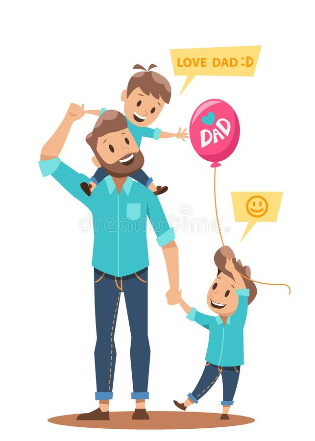 Happy single father character design. Happy single father and children family character vector design stock illustration