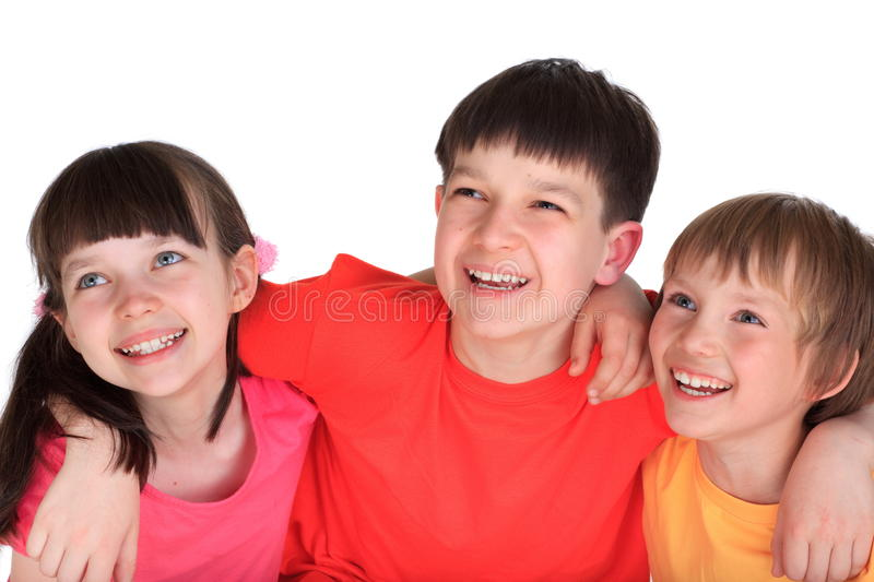 Happy sister and brothers stock image