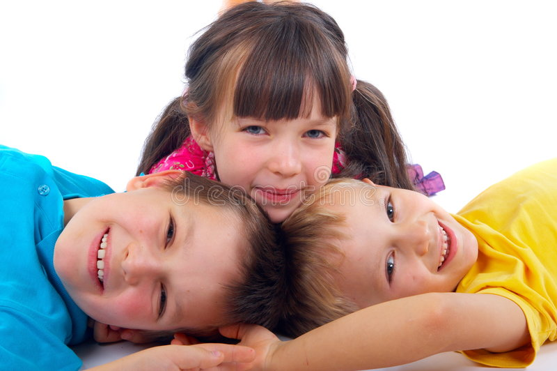 Happy sister with brothers royalty free stock photo