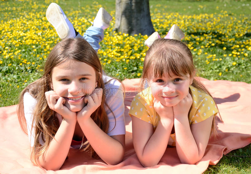 Download Happy Sisters In Spring Park Stock Image - Image: 24661099